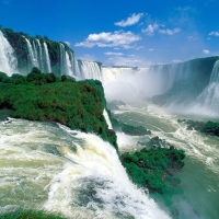 Great Atmosphere - Beautiful Iguassu Falls, Brazil.