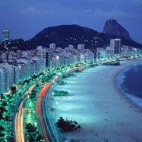 Beautiful Copacabana Night, Rio de janeiro, Brazil