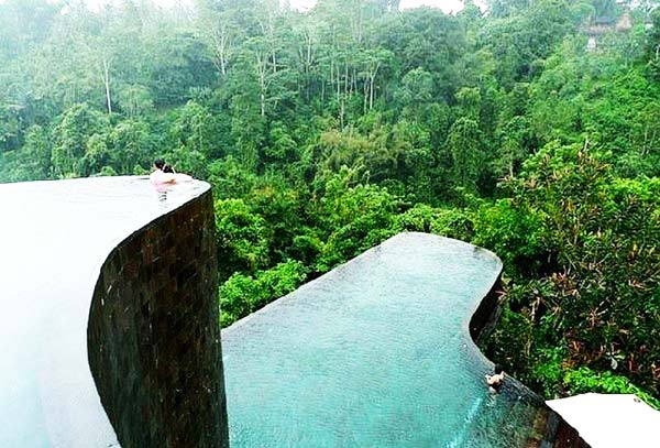 impressive pools in tropical forest great atmosphere. Black Bedroom Furniture Sets. Home Design Ideas