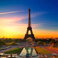 Eiffel Tower, Sunset, France, on Great Atmosphere