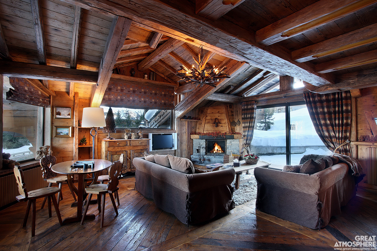 Cozy Winter Living Room On Great Atmosphere Great Atmosphere - Cozy wooden house